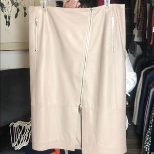 Tan Genuine Leather Skirt with Slit Lafayette 148